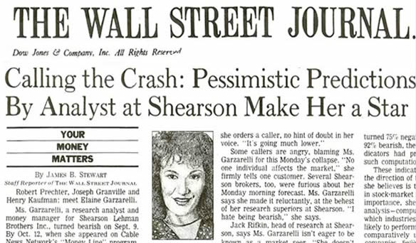 Wall Street Journal - Calling the crash pessimistic predictions by analyst at Shearshon make her a star